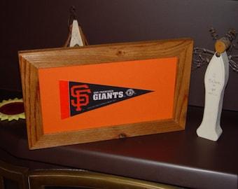 FREE SHIPPING San Francisco Giants man cave custom framed solid cedar pennant sign oak finish country rustic bar display