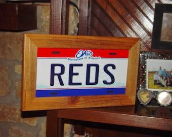 FREE SHIPPING Cincinnati Reds Ohio State License Plate Sign Framed cedar 6x12 metal display sign