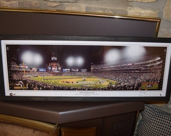 FREE SHIPPING Chicago White Sox 2005 World Series Champions panoramic framed print solid wood dark finish rustic display