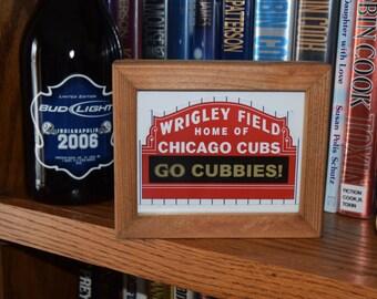 FREE SHIPPING Chicago Cubs Wrigley Field Go Cubbies custom cedar framed display decal deep profile desk buddy