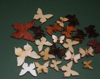 FREE SHIPPING 30 Butterfly laser cut wood cutouts scrapbook craft embellishments multi color