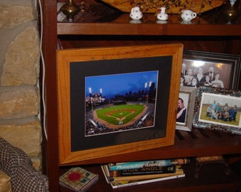 FREE SHIPPING Detroit Tigers custom solid rustic cedar framed Comerica Park  print oak finish country display wall hanging