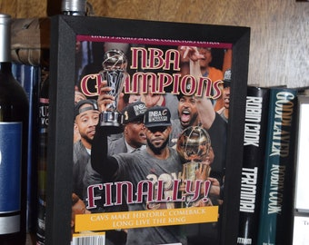 Cleveland Cavaliers Collectors Edition magazine 2016 NBA Champions custom framed solid cedar rustic dark finish