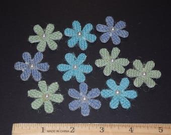 FREE SHIPPING 30 burlap daisy flower scrapbook craft embellishments 3 dimensional light blue colors