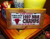 FREE SHIPPING Rare Chicago Bulls 1997 License Plate Sign Framed cedar NBA Champions