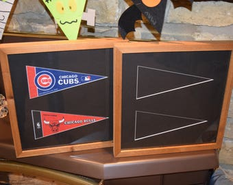 FREE SHIPPING Double 4x9 mini pennant frame custom solid rustic cedar oak finish country display black matted