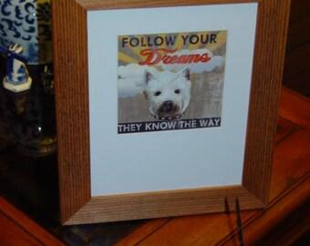 FREE SHIPPING Westie West Highland Terrier dog custom framed 8x10 matted print solid rustic cedar oak finish