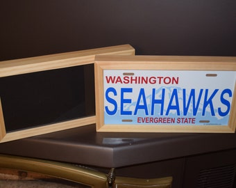 FREE SHIPPING 6x12 Size license plate multi purpose display frame pictures photos crafts natural wood finish deep profile
