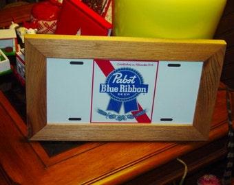 FREE SHIPPING Pabst Blue Ribbon Beer License Plate Bar Sign Framed cedar