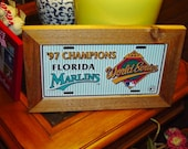 FREE SHIPPING Rare Florida Marlins 1997 License Plate Sign Framed cedar World Series Champs
