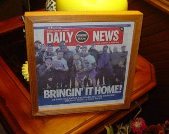 FREE SHIPPING Villanova custom framed original newspaper 2016 NCAA Basketball champions Keepsake section