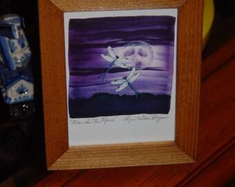 FREE SHIPPING Dragonfly signed custom framed print solid rustic cedar oak finish Man In The Moon