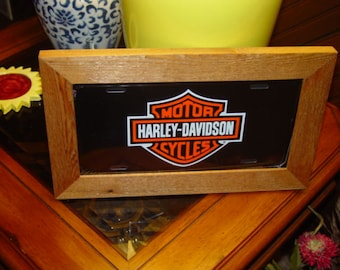 FREE SHIPPING Harley-Davidson License Plate Bar and Shield Sign Framed cedar 6x12 metal display sign
