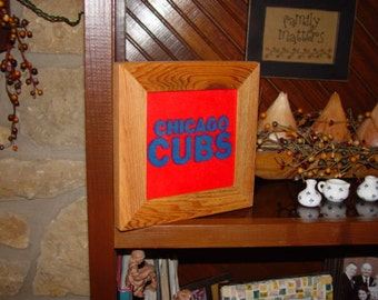 FREE SHIPPING Solid rustic cedar custom framed Chicago Cubs oak finish fleece quilt square country display