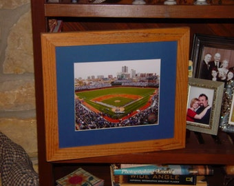 FREE SHIPPING Chicago Cubs vintage Wrigley Field framed print solid rustic cedar oak finish display wall hanging