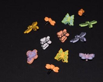 FREE SHIPPING Scrapbook craft embellishment buttons butterflies dragonflies 12 count
