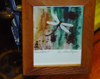 FREE SHIPPING Dragonfly signed custom framed print solid rustic cedar oak finish Personal Space 1