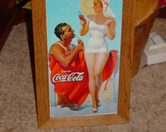 FREE SHIPPING Coca Cola custom framed solid cedar wood  metal Beach  sign oak finish country rustic wall hanging display