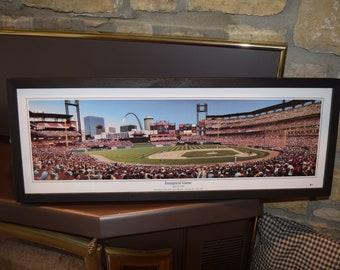 FREE SHIPPING St Louis Cardinals Inaugural Game panoramic framed print solid wood dark finish rustic display
