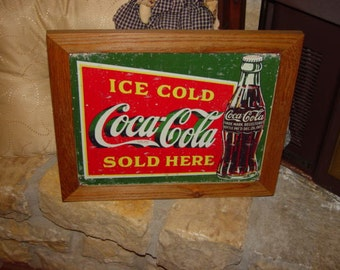 FREE SHIPPING Coca Cola custom framed solid cedar wood 15X18 man cave metal Sold Here sign oak finish country rustic wall hanging display