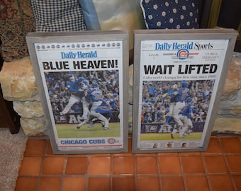 FREE SHIPPING 2 Chicago Cubs 2016 framed original newspapers World Series Champions Daily Herald