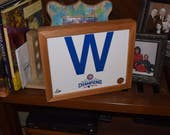 FREE SHIPPING Chicago Cubs custom framed 2016 World Series Champions MLB Licensed W Photo Solid Rustic Cedar
