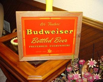 FREE SHIPPING Budweiser Beer Preferred Everywhere retro custom framed cedar 15X18 metal vintage bar sign oak finish rustic wall display