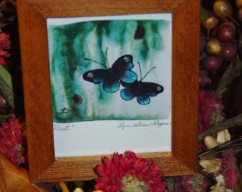 FREE SHIPPING Butterfly signed custom framed print solid rustic cedar oak finish Duet