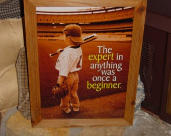 FREE SHIPPING Motivational Baseball Little Leaguer custom framed print solid rustic cedar oak finish wall hanging display