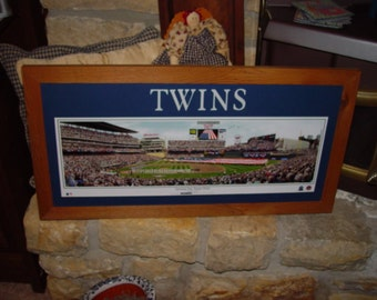 FREE SHIPPING Minnesota Twins custom framed lettered solid cedar wood panoramic oak finish country rustic wall hanging display