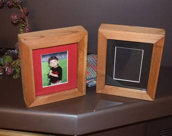 FREE SHIPPING Matted 3.5x2.5 size Little League Sports School picture photo frame solid rustic cedar wood oak finish deep profile display