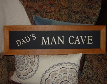 FREE SHIPPING Dads man cave large custom lettered solid cedar wood framed sign oak finish country rustic panoramic banner display