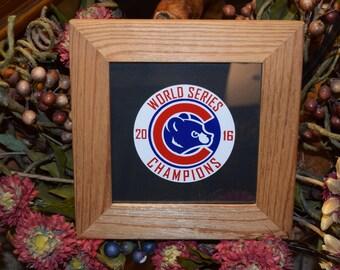 FREE SHIPPING Chicago Cubs solid rustic cedar custom framed oak finish 2016 World Series Champions display