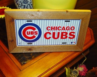 FREE SHIPPING Chicago Cubs License Plate Sign Framed Pin Stripe design solid cedar 6x12 metal display