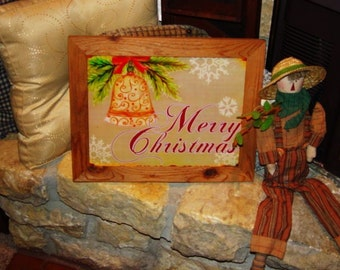 FREE SHIPPING Merry Christmas custom framed solid cedar wood metal sign oak finish country rustic wall hanging display