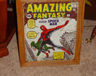 FREE SHIPPING Spider Man Comic custom framed solid cedar wood 15X18 weathered metal sign oak finish country rustic wall hanging display
