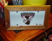 FREE SHIPPING Rare Miami Heat NBA 2012 License Plate Sign Framed cedar 6x12 metal display