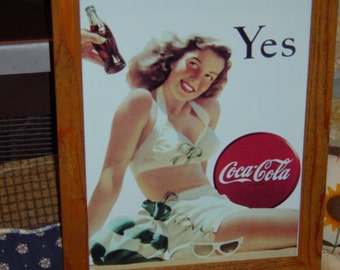 FREE SHIPPING Coca Cola custom framed solid cedar wood 15X18 man cave metal  Yes sign oak finish country rustic wall hanging display