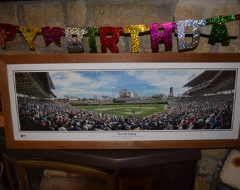FREE SHIPPING Classic Chicago Cubs stadium panoramic large custom framed print rustic solid cedar Second Inning