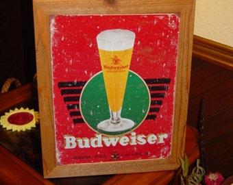 FREE SHIPPING Budweiser Anheuser Busch Beer custom framed solid cedar wood 15X18 man cave metal vintage bar sign oak finish rustic display