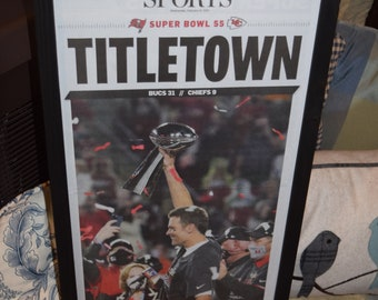 FREE SHIPPING Tampa Bay Buccaneers framed original newspaper Super Bowl 55 Champions Titletown