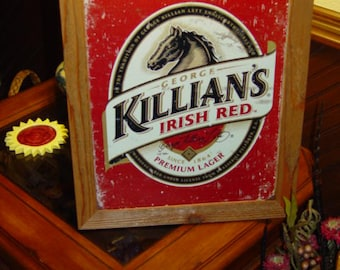 FREE SHIPPING Killians Beer Logo custom framed solid cedar wood 15X18 man cave metal vintage bar sign oak finish country rustic wall display
