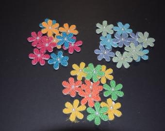 FREE SHIPPING 30 burlap daisy flower scrapbook craft embellishments 3 dimensional multi color