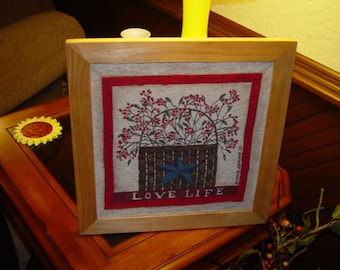 FREE SHIPPING Unique tapestry love life custom framed solid cedar oak finish country rustic wall hanging display