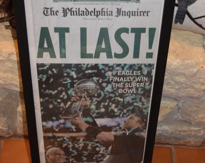 Featured listing image: FREE SHIPPING Rare Philadelphia Eagles Custom framed solid cedar original complete newspaper Super Bowl LII champions deep profile
