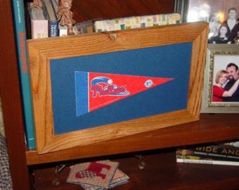 FREE SHIPPING Philadelphia Phillies man cave custom framed solid cedar pennant sign oak finish country rustic bar display