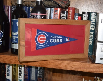 FREE SHIPPING Chicago Cubs custom framed mini pennant solid rustic cedar oak finish country display red matted deep profile