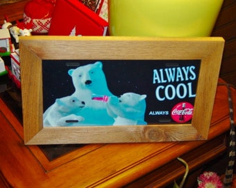 FREE SHIPPING Rare Coca Cola Polar Bear License Plate Sign Framed cedar 6x12 metal display