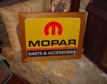 FREE SHIPPING Custom framed solid cedar wood 15X18 man cave metal vintage Mopar parts logo sign oak finish rustic display