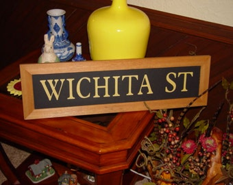 FREE SHIPPING Wichita St large man cave custom lettered solid cedar wood framed sign oak finish country rustic bar display